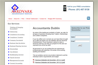 Website preview image for: Aardvark Accountancy Services